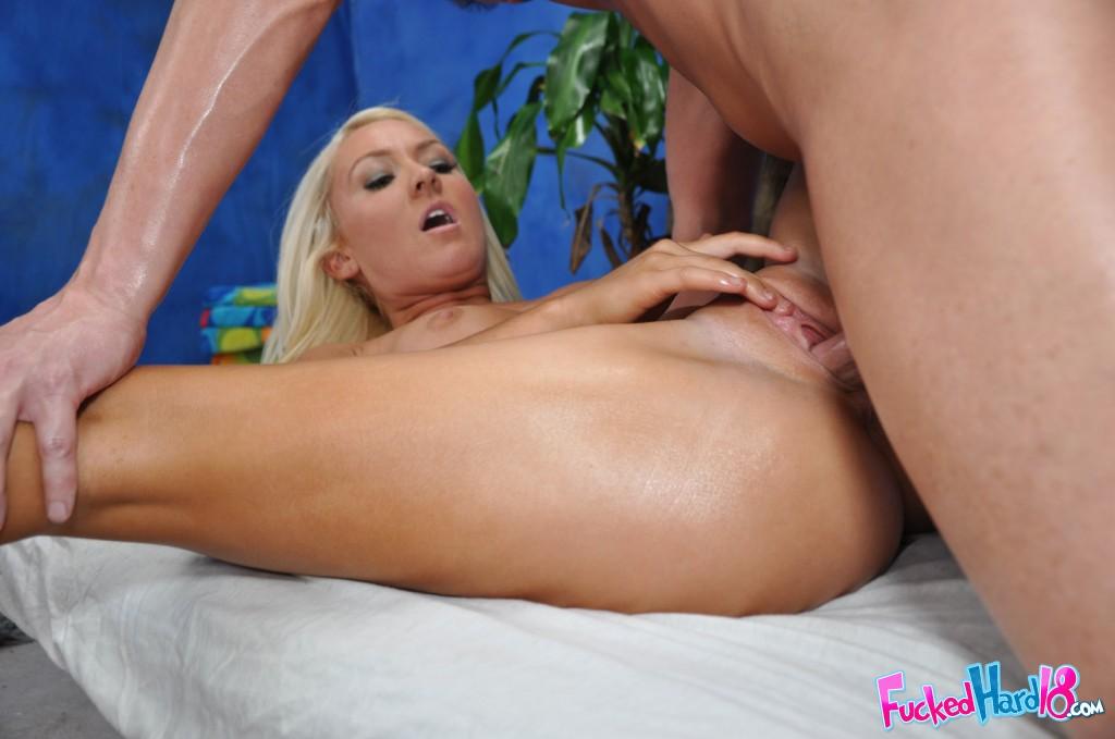 nude girl getting massaged